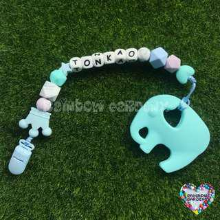 Customized Pacifier Clip with letter beads + Turquoise blue elephant Teether