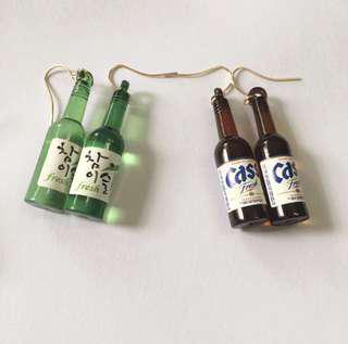 Korean soju bottle earrings