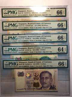 Singapore Portraits Identical s/n $2-$100 0AA 002672 with PMG 66/64/66/66/66 EPQ