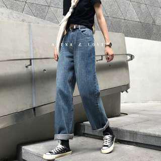 Alexa&Love 中藍色經典直筒復古寬鬆高腰拖地褲牛仔褲(特)