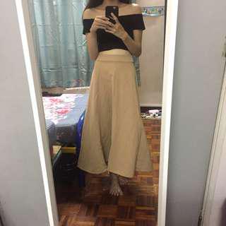 Warm beige long flared skirt
