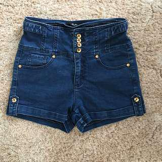 High waisted blue denim shorts