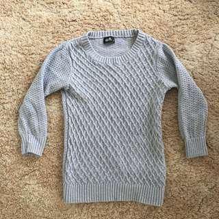Grey 3/4 sleeve knit sweater