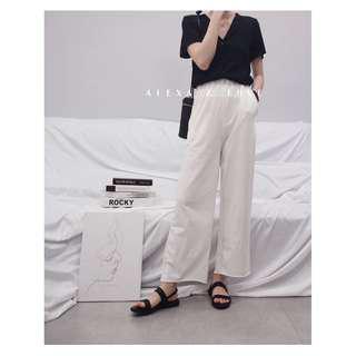 Alexa&Love 高腰超舒服寬腿褲九分褲闊腿褲(二色特)