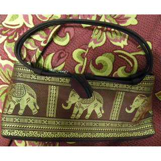 Maroon shoulder bag (Elephant design) with mini coin purse keychain