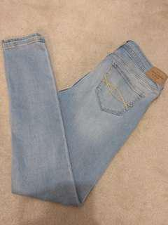 A&F light wash stretchy jeans