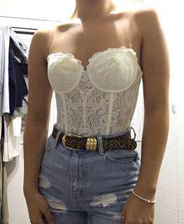 Cream lace corset