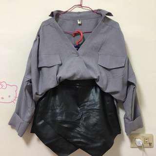 🚚 灰色襯衫/不規則皮褲裙(一套$300含運/拆售請私訊)
