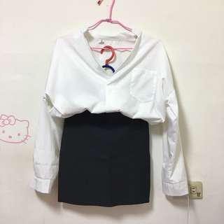 🚚 白色V領襯衫/深灰包臀裙(一套價錢$300含運/拆售請私訊)