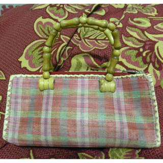 Pink Native bag with wooden handle