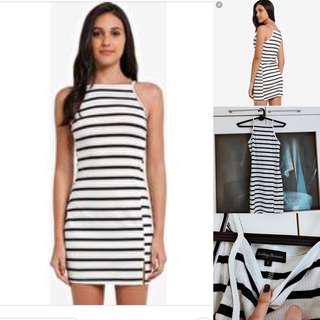 Sale 🛍 SOMETHING BORROWED cut in slit bodycon stripe dress