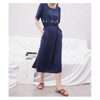 Alexa&Love 簡單素色抽繩方領短袖長款收腰連衣裙T恤裙(特)