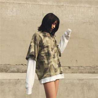 [URGENT CLEARANCE] VINTAGE OVERSIZED FAKE TWO PIECE ARMY DESIGN PULLOVER