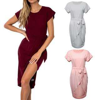 Irregular Solid Coloured Dress