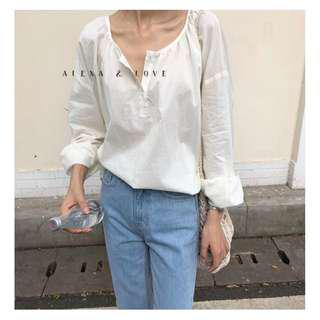 Alexa&Love 韓國亨利領乳白色長袖襯衫襯衣(特)