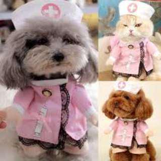 (PO)Dog/Cat Costume Suit Puppy Clothes Nurse Outfit