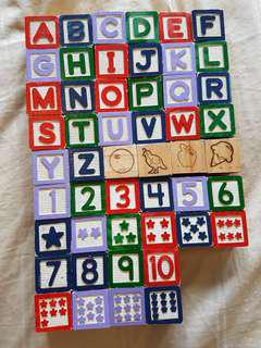 50Pcs Alphabet and Number Wooden Blocks