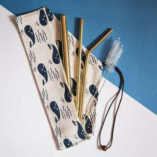 🚚 Stainless Steel Straw Set in Gold -Whale Pouch