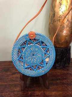 Blue Handwoven Artisan Rattan Handbag