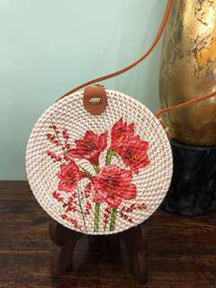 Handwoven Artisan Rattan Handbag With Painted Lillies