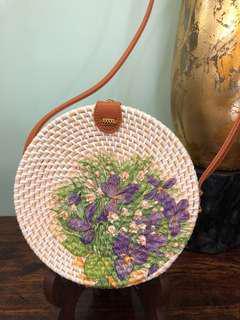 Handwoven Artisan Rattan Handbag With Painted Geraniums