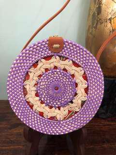 Purple Handwoven Artisan Rattan Handbag with Unique Detailing