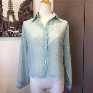 Mint Green Office Long Sleeve Top Blouse