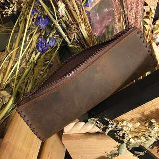 質感手工縫製真牛皮筆袋