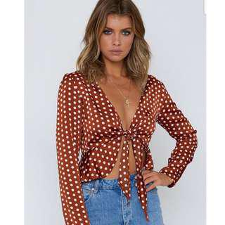 Beginning Boutique Polka Cropped Top: BRAND NEW TAG ATTACHED
