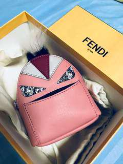 Fendi bag charm real leather authentic