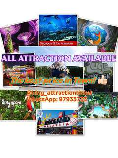USS, SEA AQUARIUM, GARDEN BY THE BAY, ADVENTURE COVE WATERPARK, MADAME TUSSAUDS, TRICK EYE MUSEUM, CABLE CAR, SINGAPORE ZOO, RIVER SAFARI, JURONG BIRD PARK, NIGHT SAFARI, RAINFOREST LUMINA, SCIENCE CENTRE, LEGOLAND THEMEPARK, HELLO KITTY & THOMAS TOWN