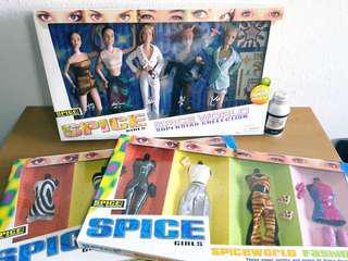 罕1998 SPICE GIRLS 30cm 5人偶+8套衫 Barbie size dolls & 8 outfits Galoob