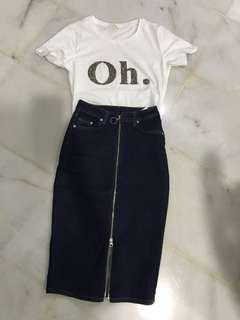 H&M Top + Denim Pencil Skirt