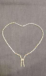 Vintage elegant evening dress CZ Crystal 925 Sterling Silver Necklace
