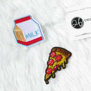 🚚 Iron On Patch | Food Series | Pizza, Milk pack