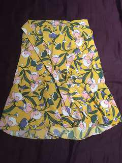 Yellow Floral Skirt (Garterized)