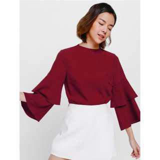 Love Bonito tesha layered bell sleeve TOP in red XS BNWT