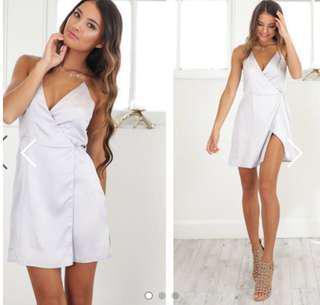 Showpo silver wrap dress