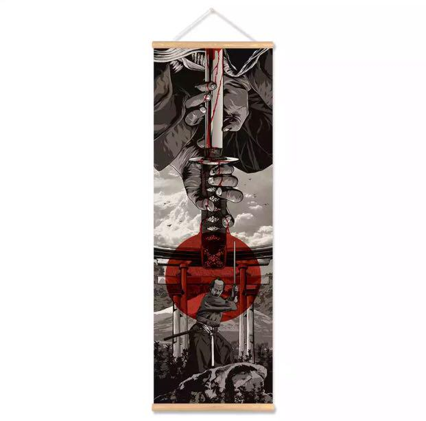 1pc High Quality Gallery Japanese Samurai Scroll Painting Canvas
