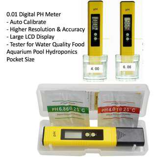 0.01 Digital PH Meter Auto Calibrate Tester for Water Quality Food Aquarium Pool Hydroponics Pocket Size Higher Resolution Large LCD Display