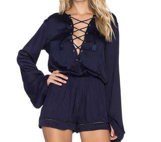 Faithfull the label tie up navy top