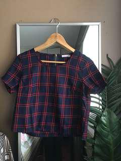 Sixty Eight Red Checkered Crop Top