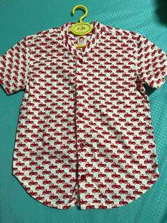 Elly Mandarin Boys Shirt With Truck Prints