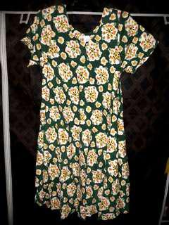 NEW Batik Indra Daster Wanita Dress Motif Etnik Bunga Fit to L Hijau Tua