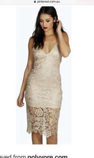 Gold lace midi dress