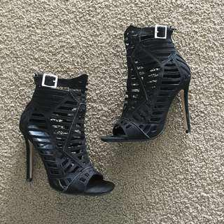 Edgy Black Stiletto Heels