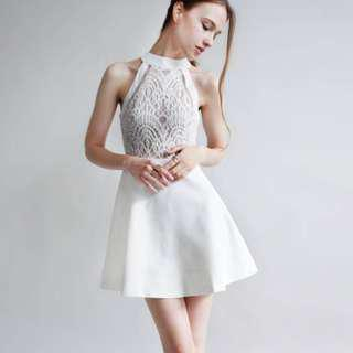 White Halter Neck Lace Dress