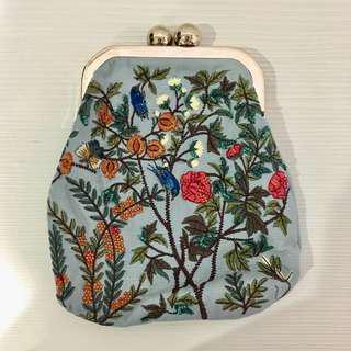 [包包]zara側背小鏈包-花/藍