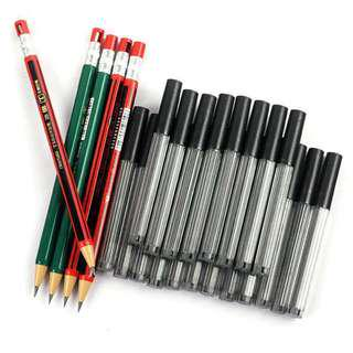 2B Automatic/ mechanical pencil 2.0mm thick core pencil lead with refill/ mini sharpener on cap / one set $1.60 only