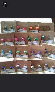 56對 膠針小耳環 防敏感耳環 不散賣 earring $50/57 pairs
